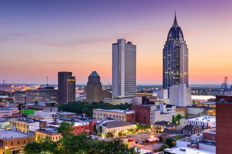 Mobile, Alabama, USA downtown skyline.
