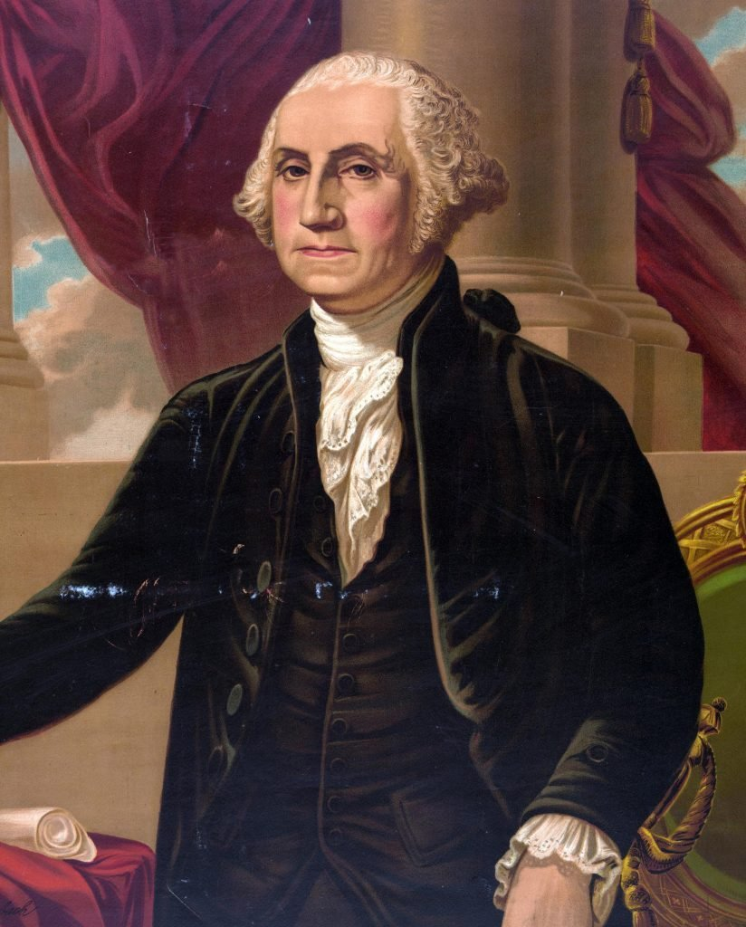VARIOUS George Washington. Print showing George Washington, standing in front of a chair with right arm extended toward a table on the left and holding a sword in left hand.