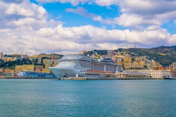 GENOA, ITALY, MARCH 13, 2016: view of a cruise ship anchoring in the port of genoa in italy.