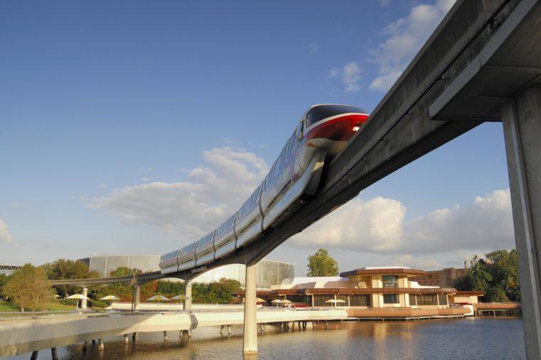 VARIOUS Monorail transiting through Epcot in Walt Disney World, Florida, USA
