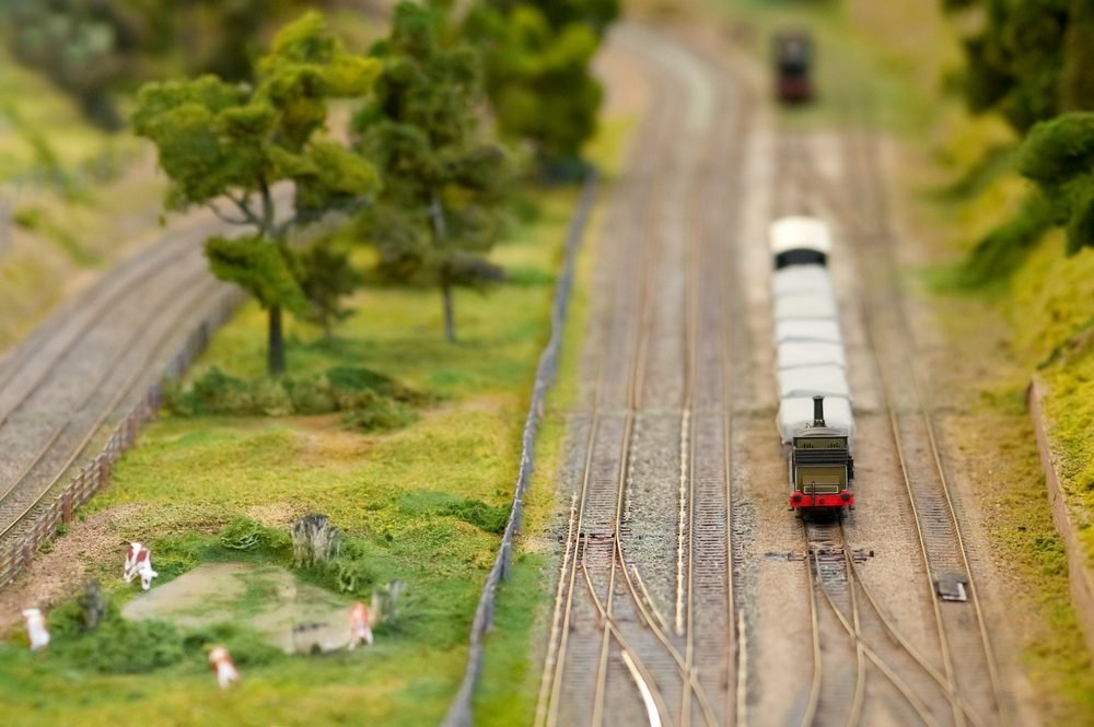 freight wagons on a miniature train set with shallow d.o.f