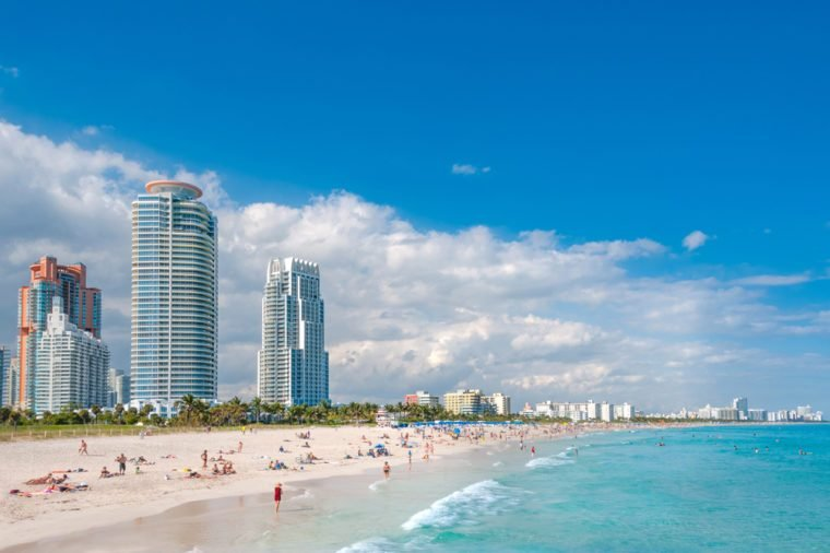 Miami Beach in Florida with luxury apartments and waterway, Florida, USA