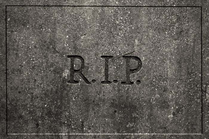 Tombstone with engraved R.I.P