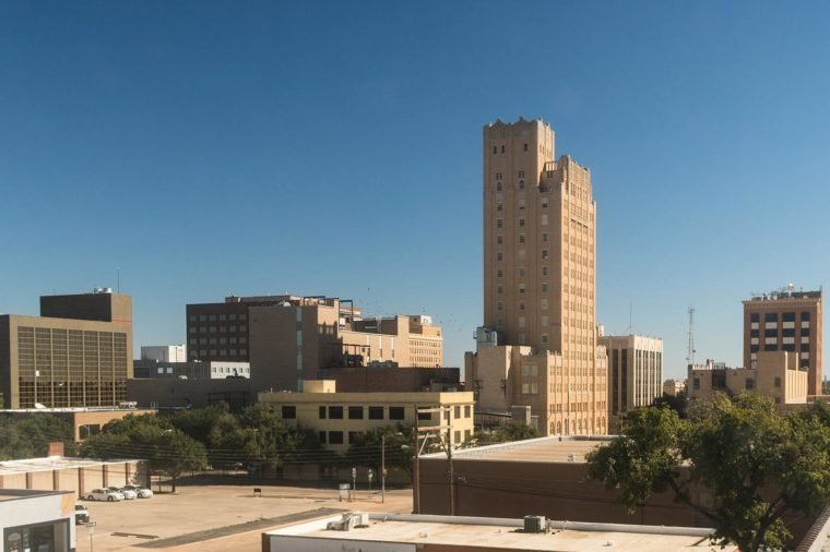 Small town feeling in Abilene Texas with few people downtown