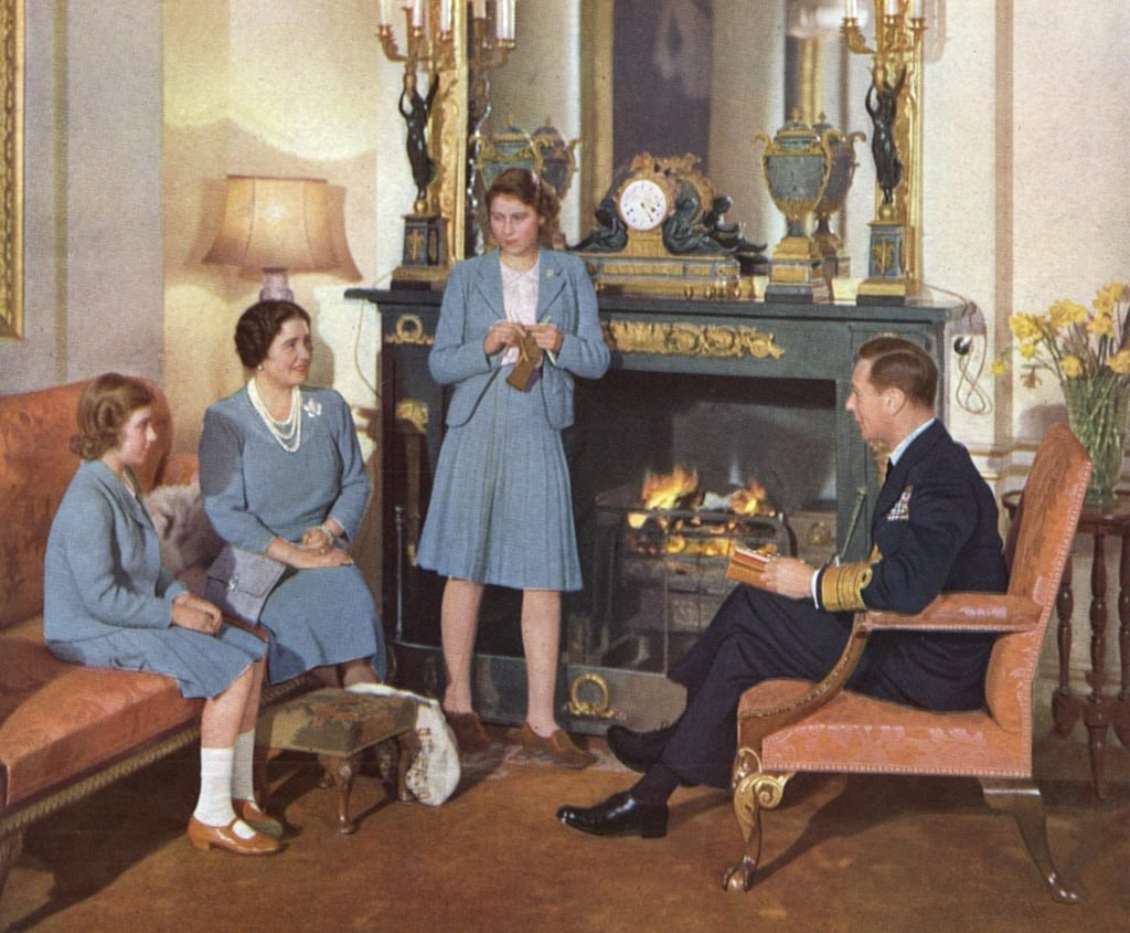 Historical Collection 176 The Royal Family at Home King George Vi and Queen Elizabeth Are Seen Chatting Princess Elizabeth Just Sixteen is Knitting (for the Troops!) and Eleven-year-old Princess Margaret Rose Listens to the Conversation 1942
