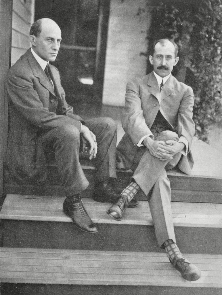 Historical Collection 27 Wilbur and Orville Wright On the Steps of Their Home 1910