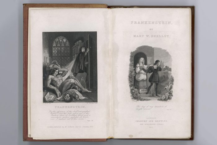 Historical Collection 32 Frankenstein Frontispiece and Title Page to Mary Shelley's Novel first published 1818Historical Collection 32 Frankenstein Frontispiece and Title Page to Mary Shelley's Novel first published 1818