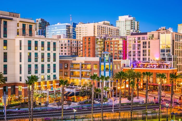 San Diego, California, USA cityscape at the Gaslamp Quarter.