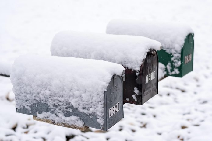 snow mailboxes winter