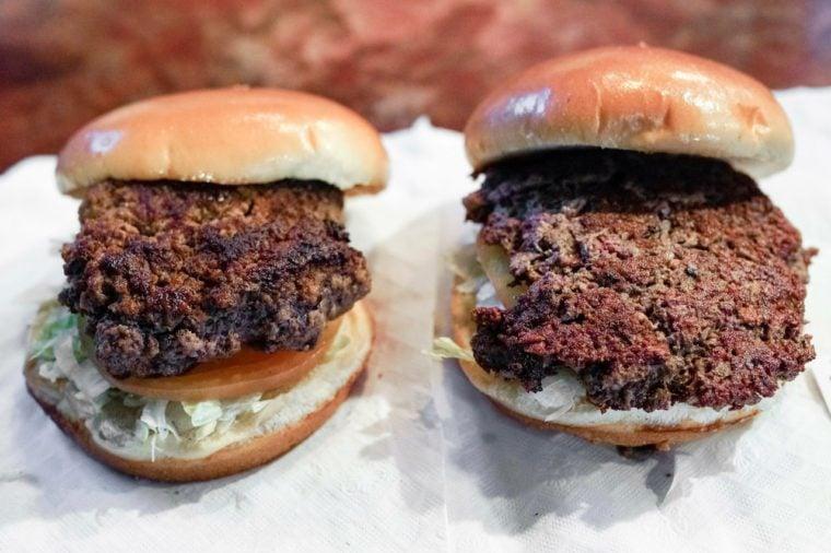 Impossible burger vs a real beef burger.