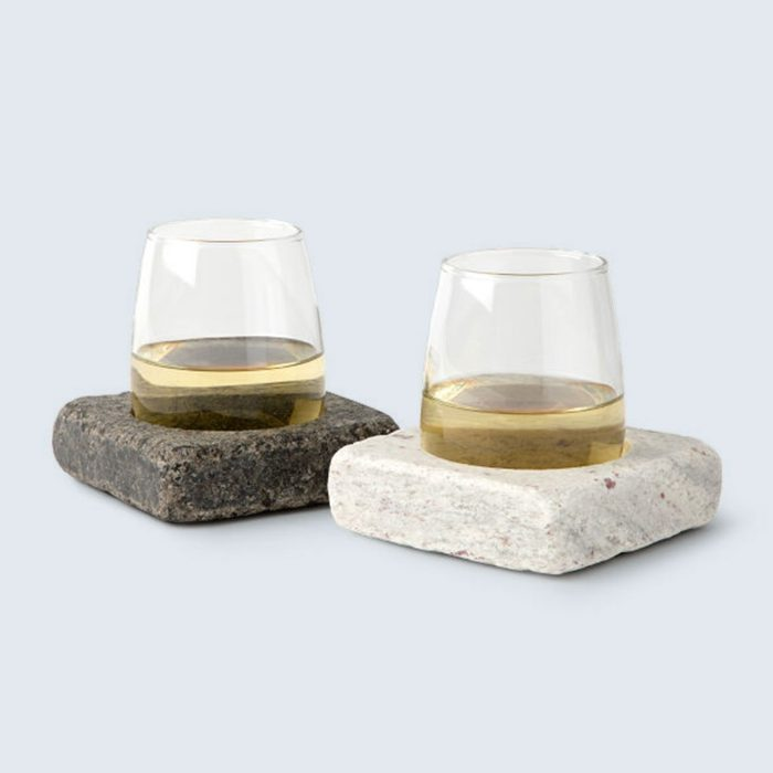 Wine Chilling Coasters and Stemless Wine Glasses