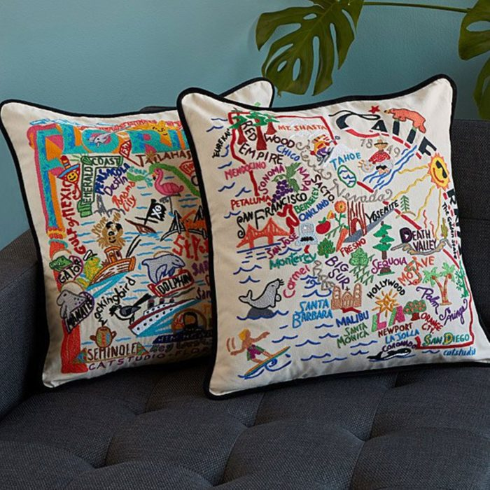 State Appreciation Love Memento: Hand-Embroidered State Pillows