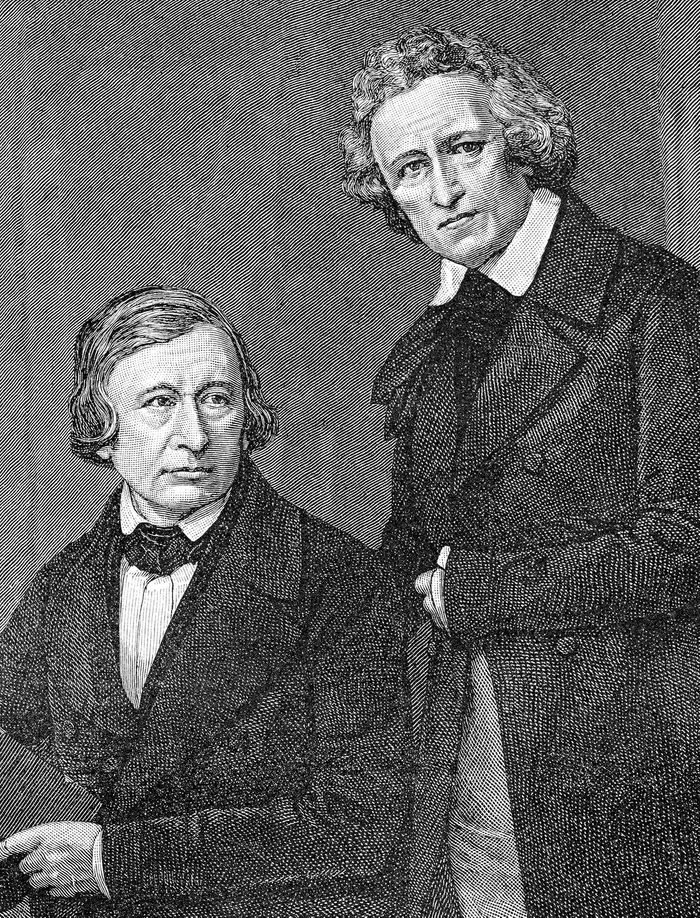 VARIOUS Historical illustration from the 19th century, depiction of the Brothers Grimm, Jacob Ludwig Karl Grimm, 1785 - 1863, a German language and literature scholar and jurist, as well as fairy tales and legends collector, founder of German philology and archeology, and Wilhelm Carl Grimm, 1786 - 1859