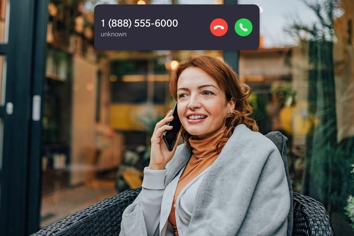 woman on the phone with an icoming call overlay