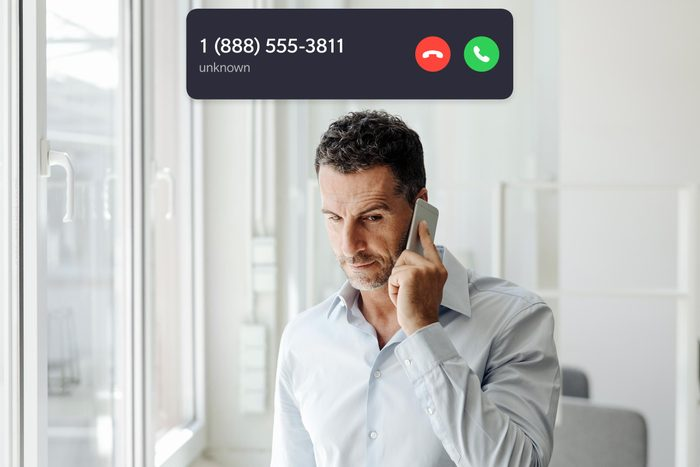 man on the phone with incoming call interface overlay