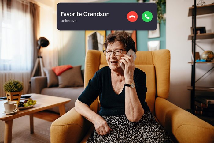 senior woman on the phone with incoming call interface overlay