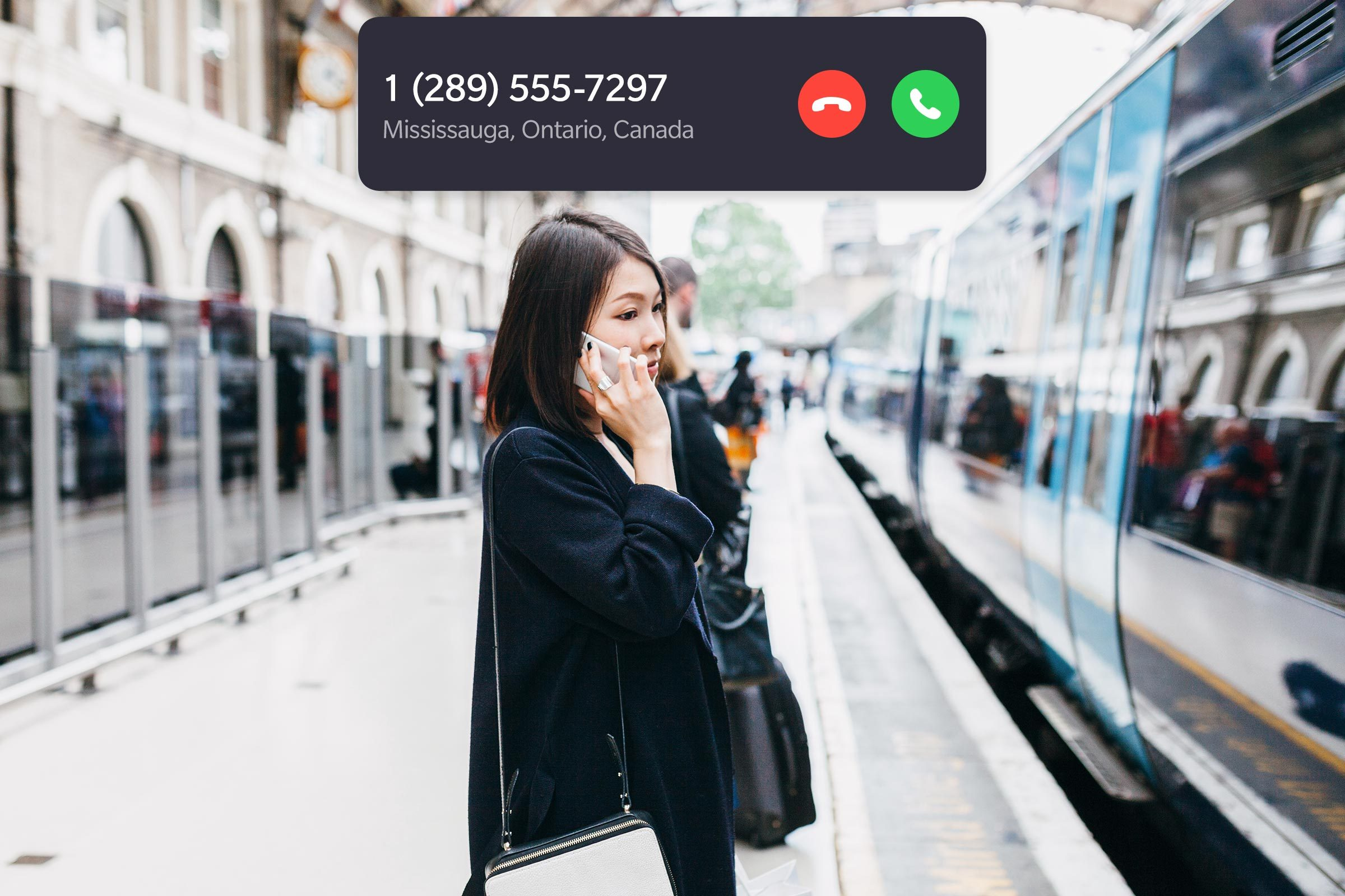woman on the phone with incoming call interface overlay
