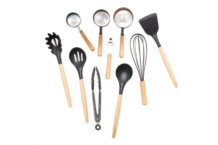 MoDRN Scandinavian 10 Piece Silicone and Wood Kitchen Utensils