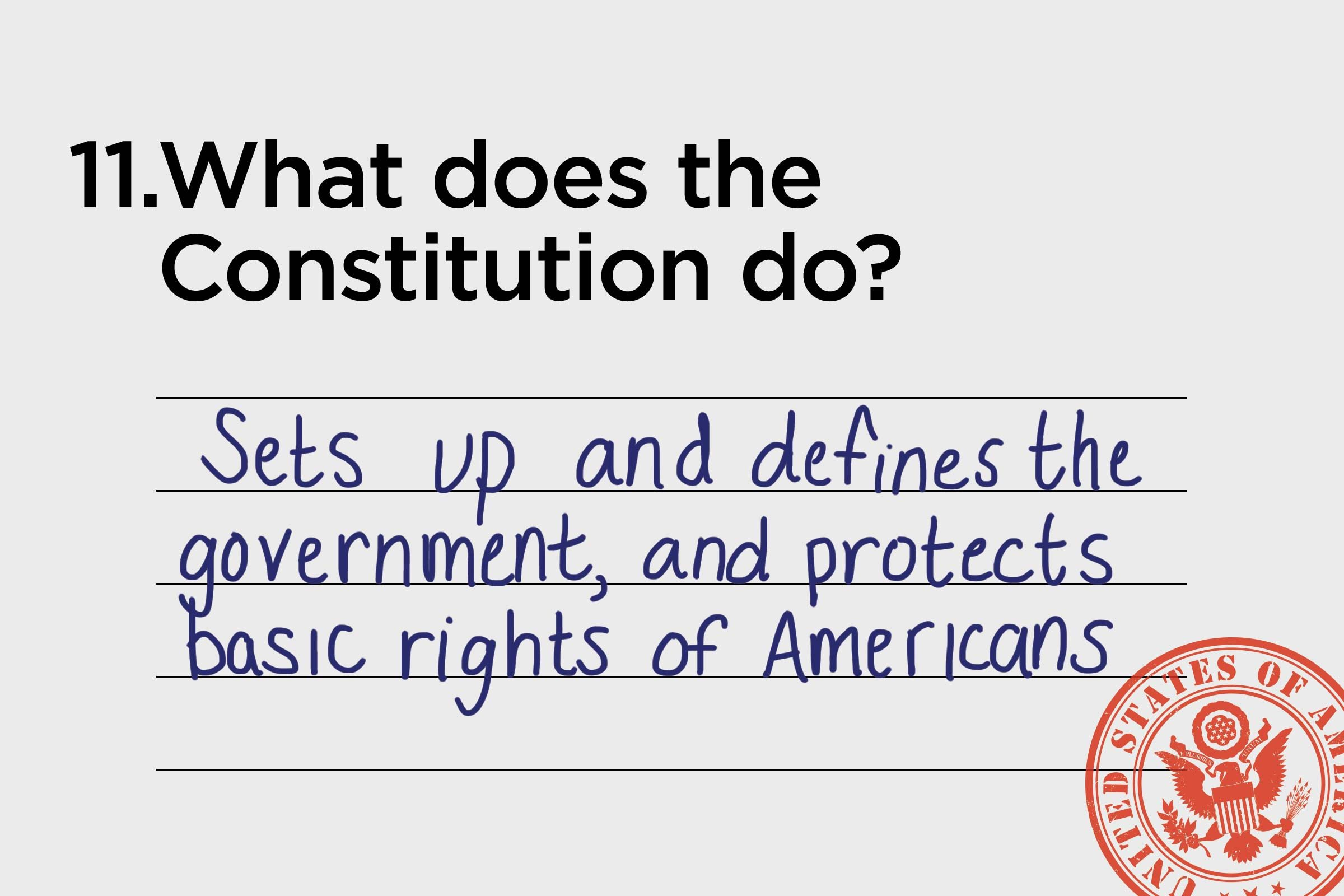 sets up and defines the government and protects the basic rights of americans