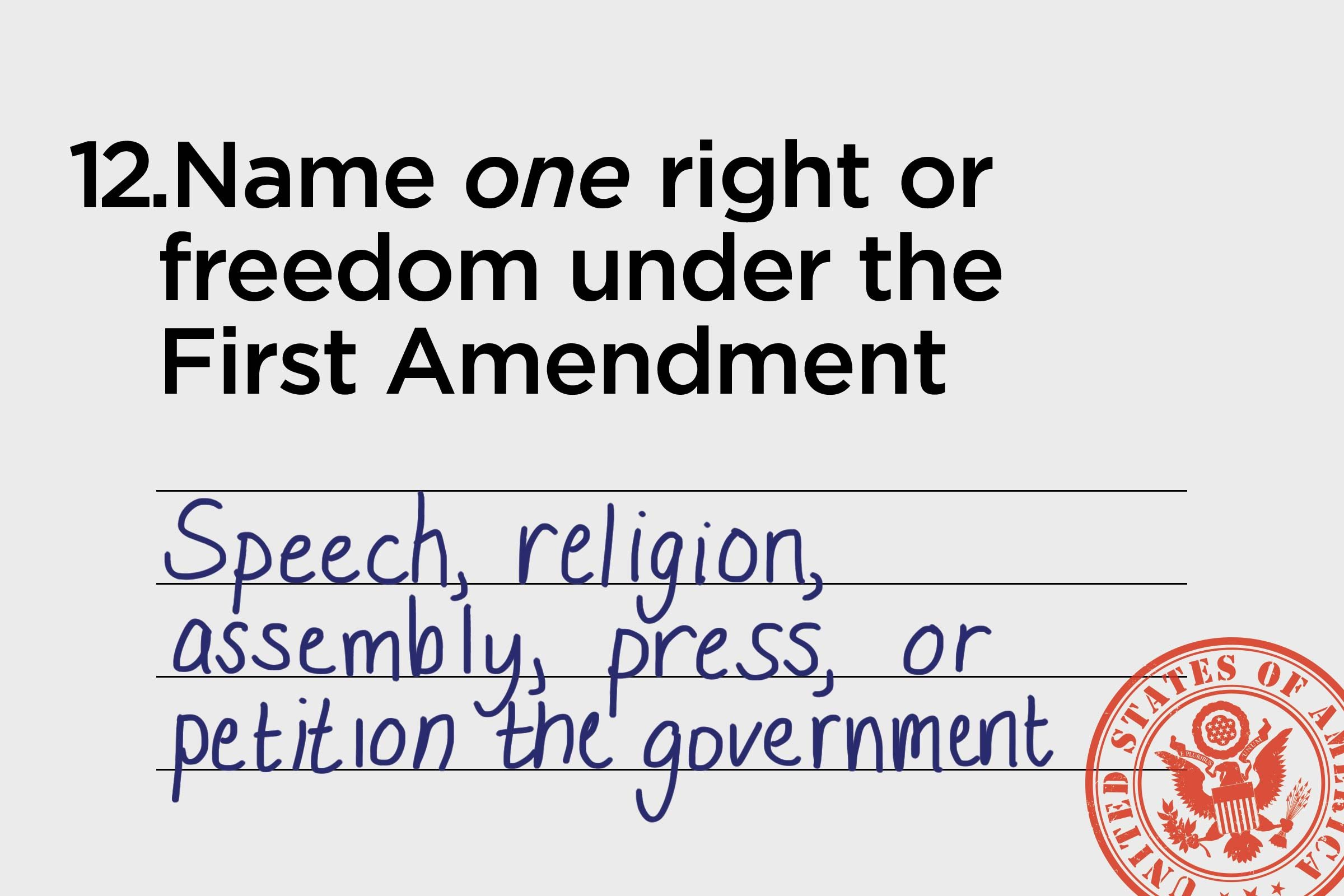 speech, religion, assembly, press, or petition the government