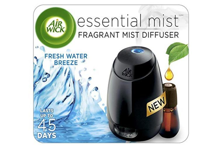 Air Wick Essential Oils Diffuser Mist Kit (Gadget + 1 Refill), Fresh Water Breeze, Air Freshener