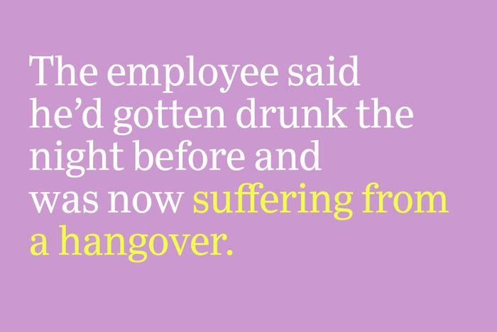 suffering from a hangover