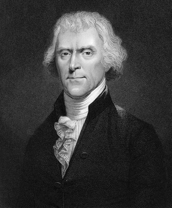 History Thomas Jefferson (1743-1826) 3rd president of the USA. Engraving after portrait by Desnoyers