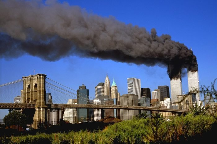 THE WORLD TRADE CENTER BURNING