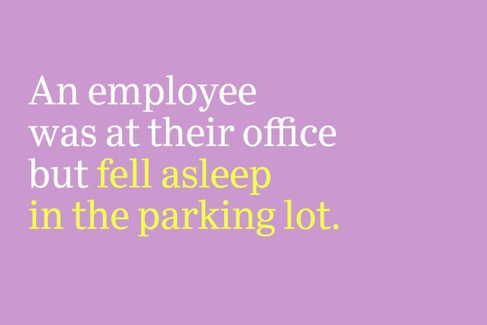 fell asleep in the parking lot