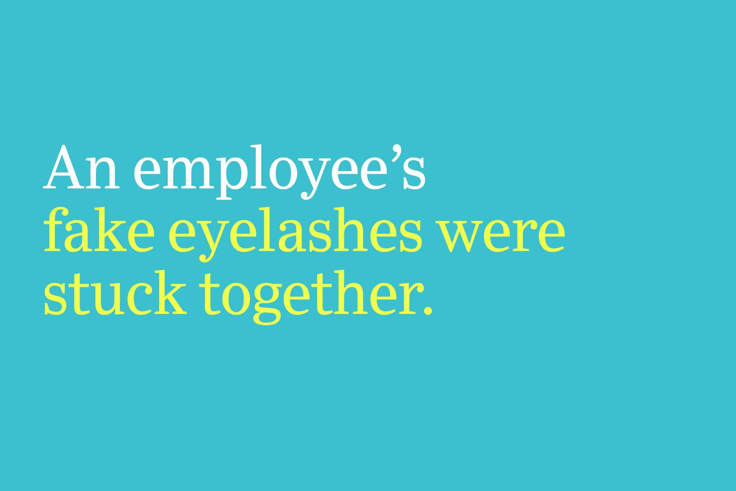 fake eyelashes were stuck together