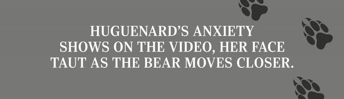 Huguenard's anxiety shows on the video, her face taut as the bear moves closer.