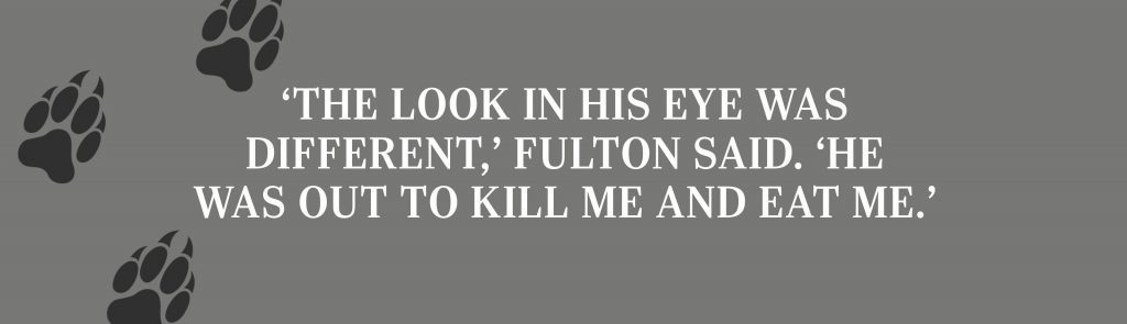 'The look in his eye was different,' Fulton said. 'He was out to kill me and eat me.'