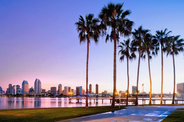 Colorful sunrise on Coronado Island. San Diego, California USA.