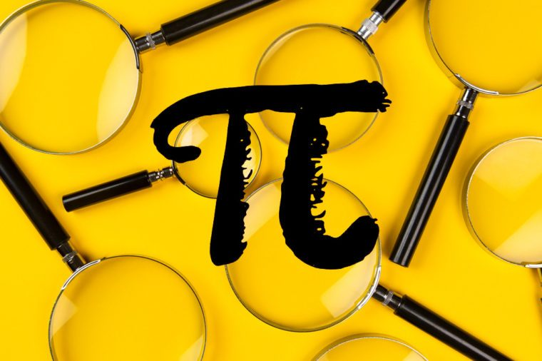 pi symbol over magnifying glasses on yellow background