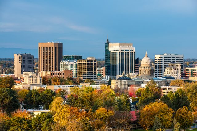 City of trees Boise Idaho with fall colors