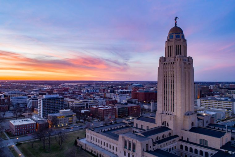 Drone shot of Nebraska State Capitol and Downtown Lincoln