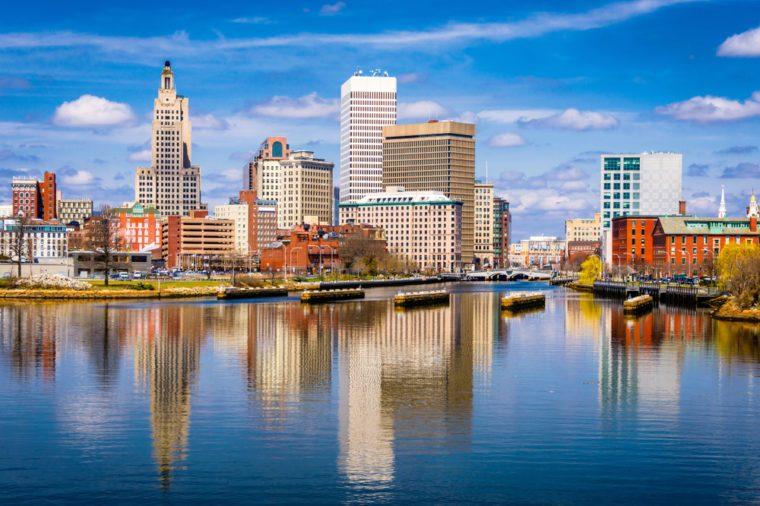 Providence, Rhode Island, USA downtown skyline on the river.