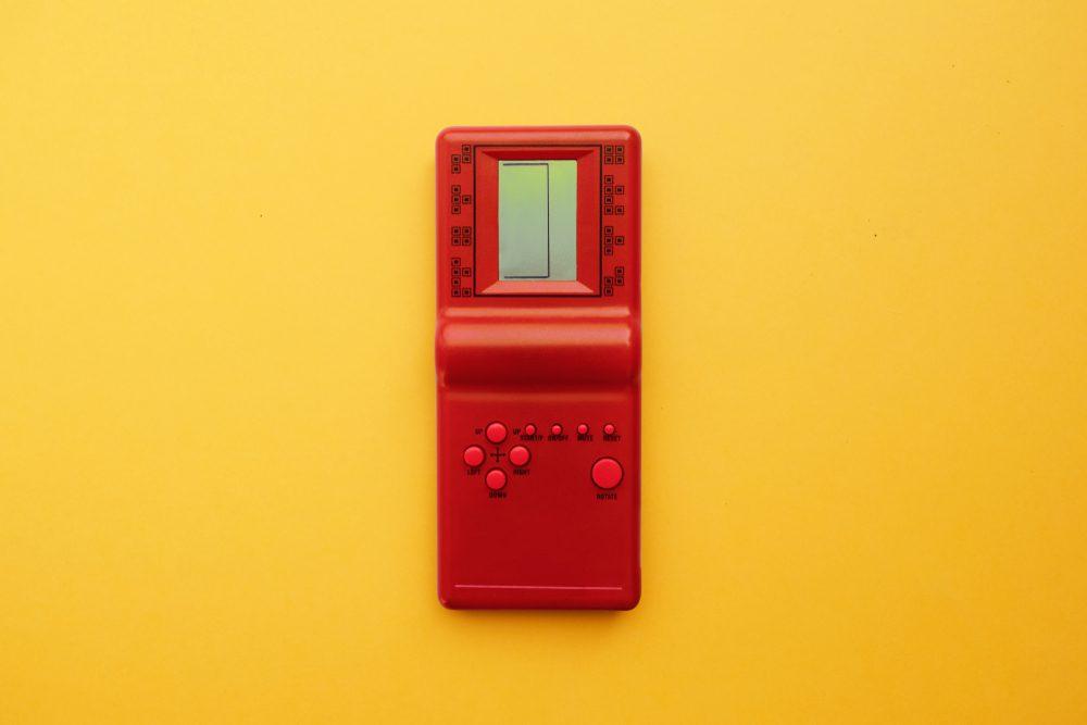 retro game on yellow background
