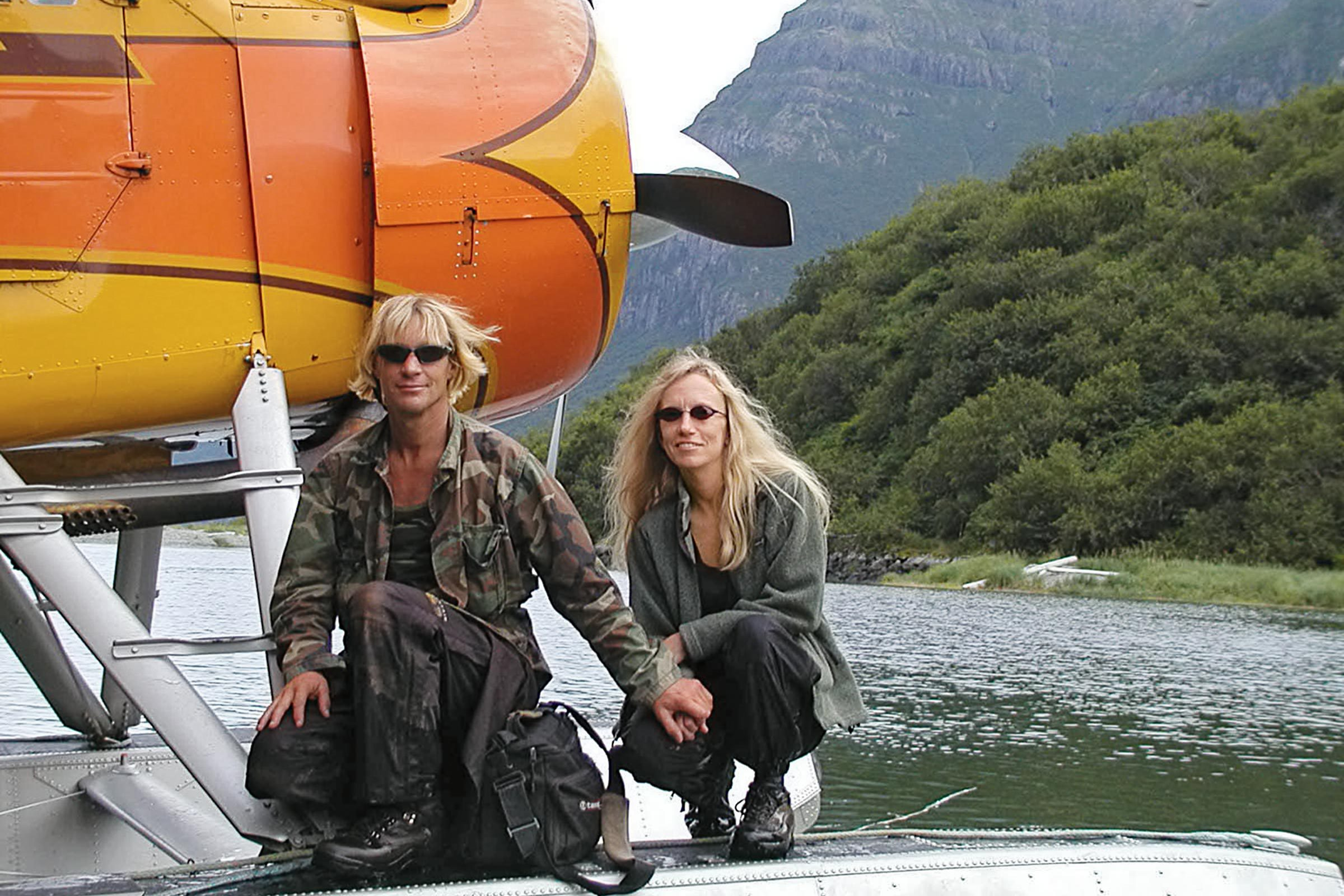 Treadwell and Huguenard in 2002, about to reunite with Katmai's bears.