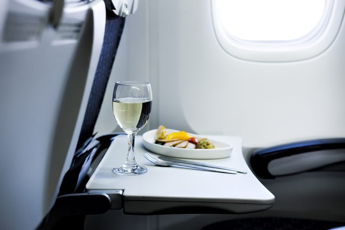 Food served on board in airplane
