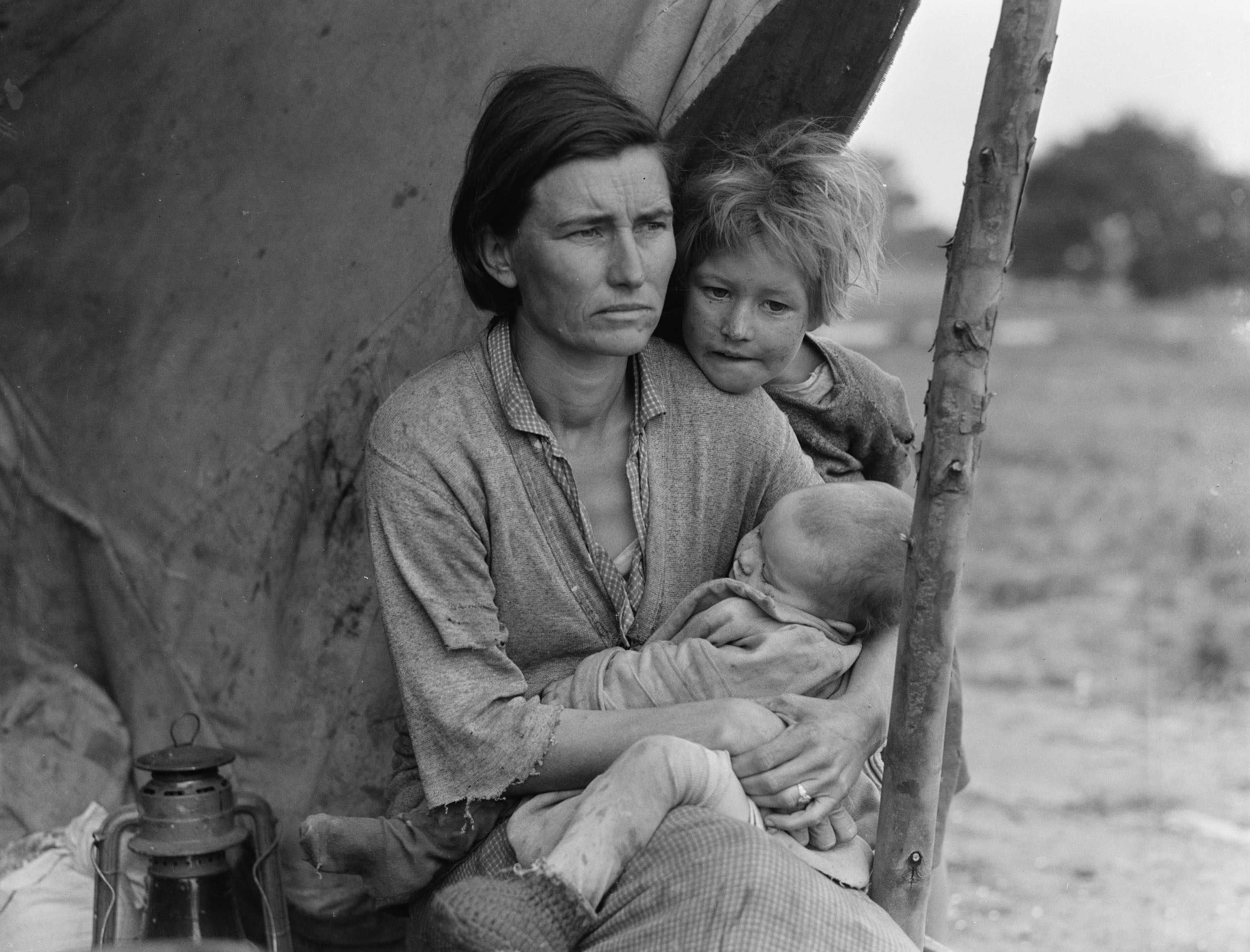 Art (Social History) - various Portrait of Florence Johnson and two of her seven children, from the Migrant Mother series, photographed in Nipomo, California, February or March 1936 (Dorothea Lange)