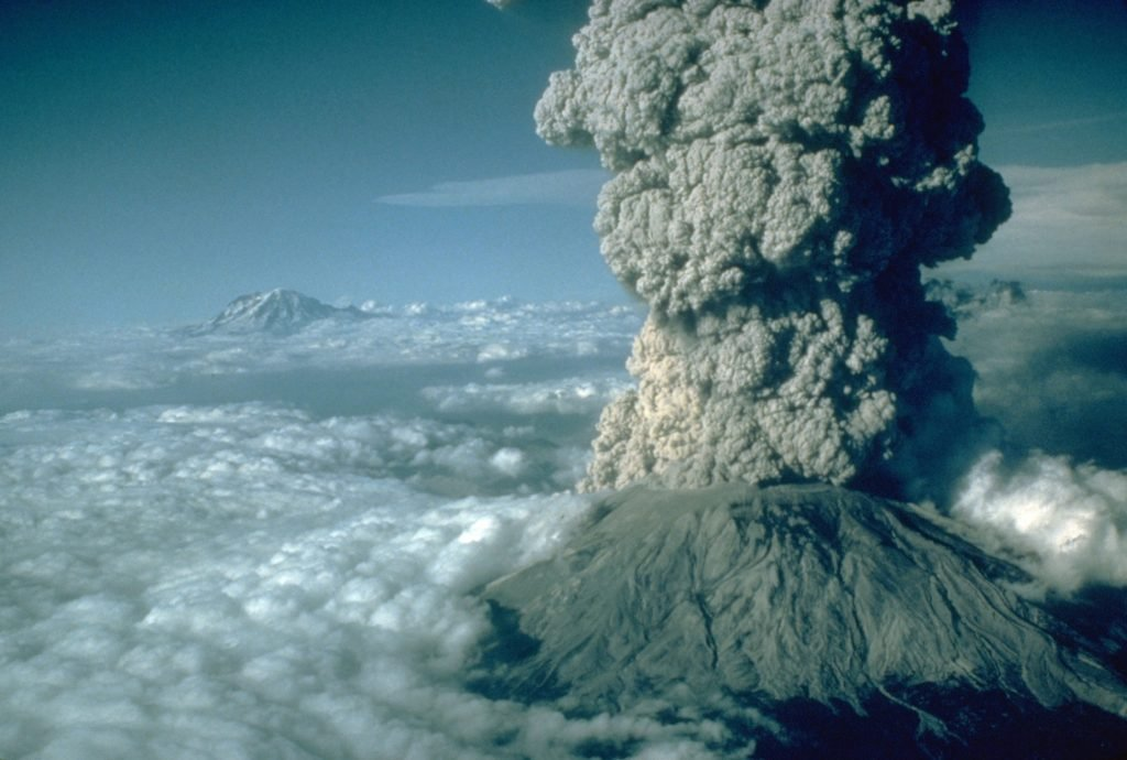 Art - various Eruption of Mount St. Helens, with Mount Rainier, Washington, in the background, July 22, 1980
