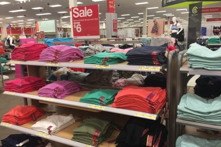 AUGUST 6 2017 - CRYSTAL, MINNESOTA: A Target store has Merona clothing, their in-house women's clothing fashion line, on sale. Target is discontinuing this line of clothing