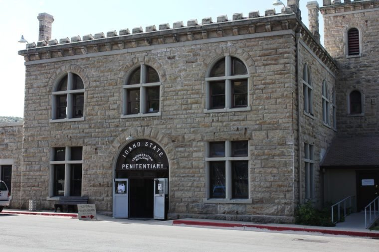 Boise, Idaho / USA - July 14 2011: Old Idaho State Penitentiary Site. This was not a Federal Prison or Jail. Housed Men and Women convicts and now a museum. Firearm and military display locked up.