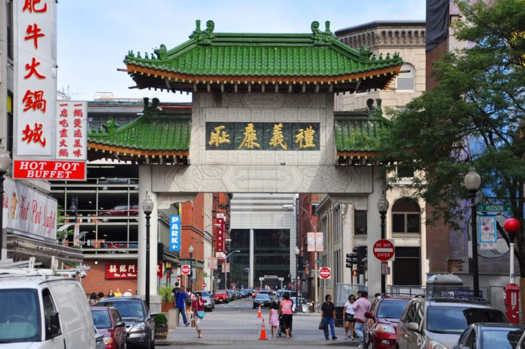 BOSTON - AUG 13: Chinatown Gateway front facade in on August 13th, 2011 in Boston, Massachusetts, USA