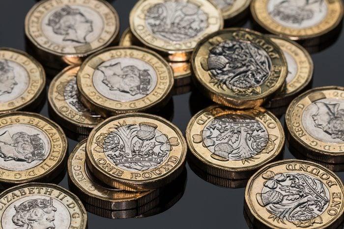 New British Pound Coins (on black)