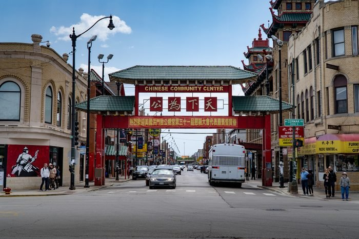 Chicago, Illinois / USA - 7 10 2018: The gate entrance into Chinatown
