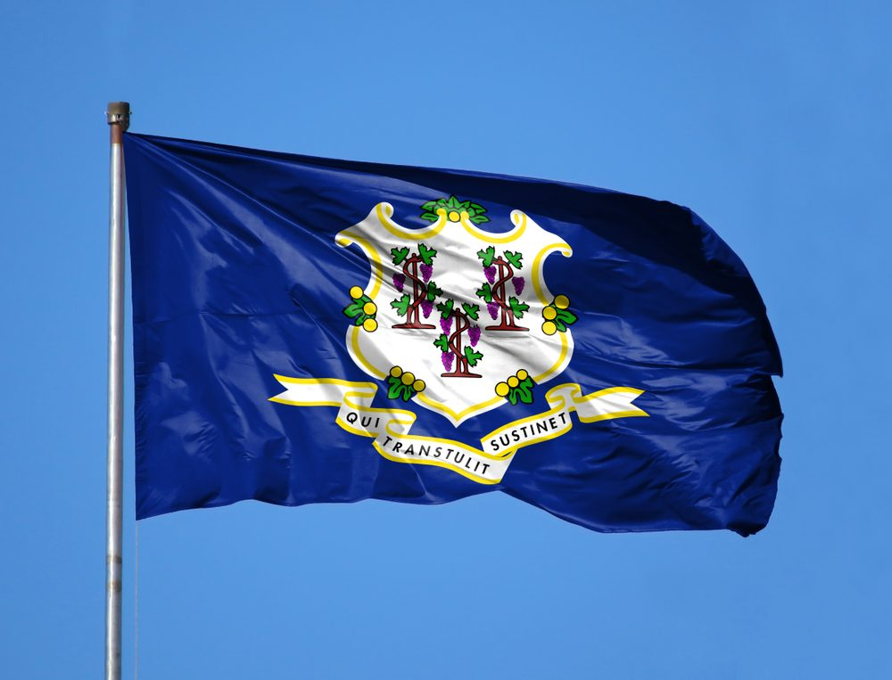 National flag State of Connecticut on a flagpole