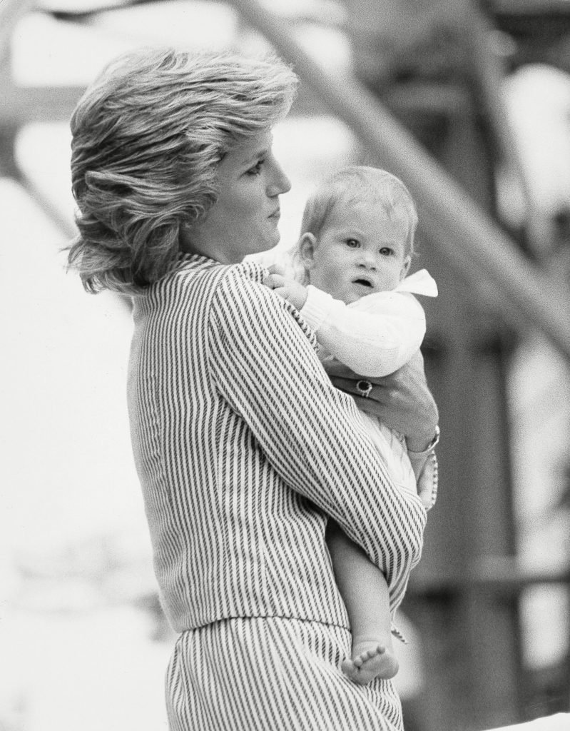 Diana Princess Of Wales - 7th August 1985. (princess Diana Died 31/8/1997). The Princess Of Wales Carries Prince Harry Aboard Britannia For Western Isles Tour....royalty
