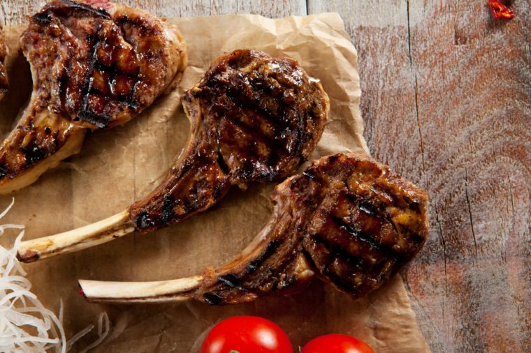 Grilled Foods - Rack of Lamb with Parsley, White Radish and Cherry Tomato